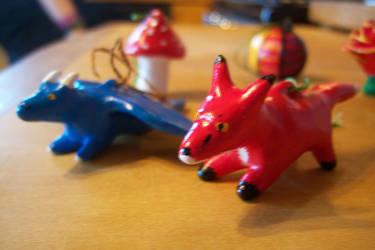 Dragon and Fox Ornaments by salaiek