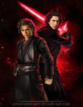 Anakin Skywalker. Kylo Ren.  Shadow by AtanvarneArt
