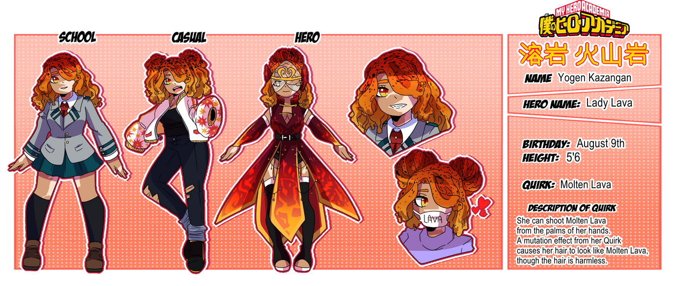 My Hero Academia: Yogen Kazangan Reference Sheet by TheNessY21