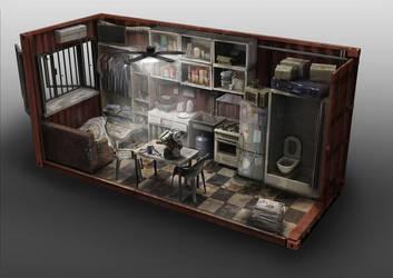 Container Apartment Interior by philzero