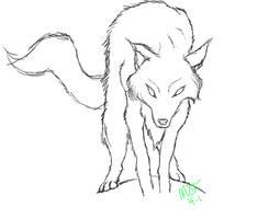 Wolf Line Art- Free Use by xDeadDog