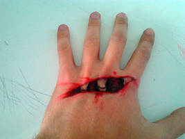 Fake Gash on my Hand Made with Pen by Asten-94