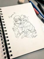 Kagehina Hug  by SkarletRedHair