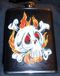 Skull Flask 2 by TracersLeathercraft