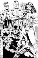 Batman, Wonder Woman, Superman, Flash and GL Ink by SWAVE18