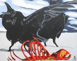 Ravens Feeding by JoeCrow9