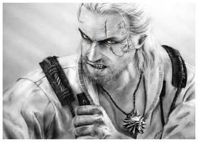 Geralt of Rivia - Pencil Drawing by Jooleya