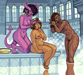 Commission - At the Bathhouse by curantodraws