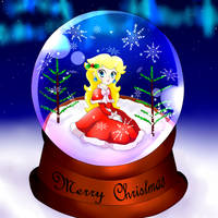 Peach Christmas snow globe by GeekytheMariotaku