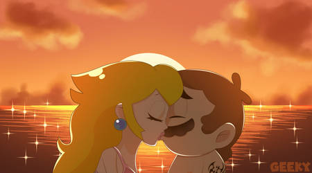 Mario and Peach summer kiss by GeekytheMariotaku