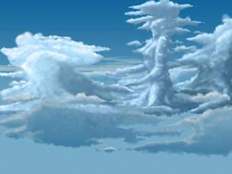 Girl in the clouds in progress by Tark3355