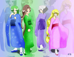 Kimono Girls for Eliseth by SpeedyHimura