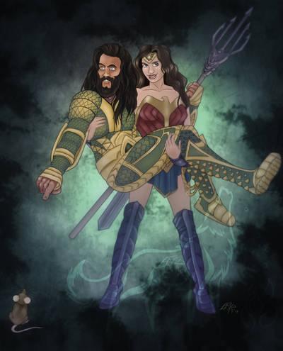 Aquaman and Wonder Woman by EmberWolfsArt