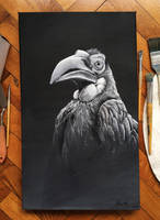Southern Ground Hornbill - Oil Painting by PedroDeElizalde
