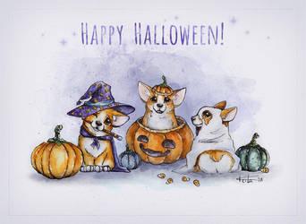 Halloween corgis by Keila-the-fawncat