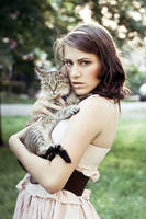 Girl with cat by ladyang