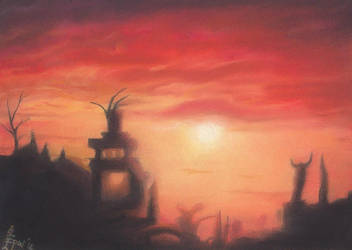 Morrowind: Daedric Ruins at Sunset by MadEvilLydia