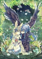 Rabbit and Raven by Kaze-Hime