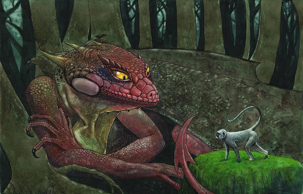 Dragon and Monkey by Odomi2