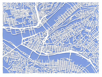Pittsburgh cutout map by Mapsburgh