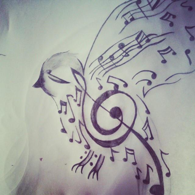 dibujo a lapiz pajaro musical by samidrawings on deviantart