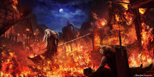 Final Fantasy VII - Sephiroth in Flames by RobinTran