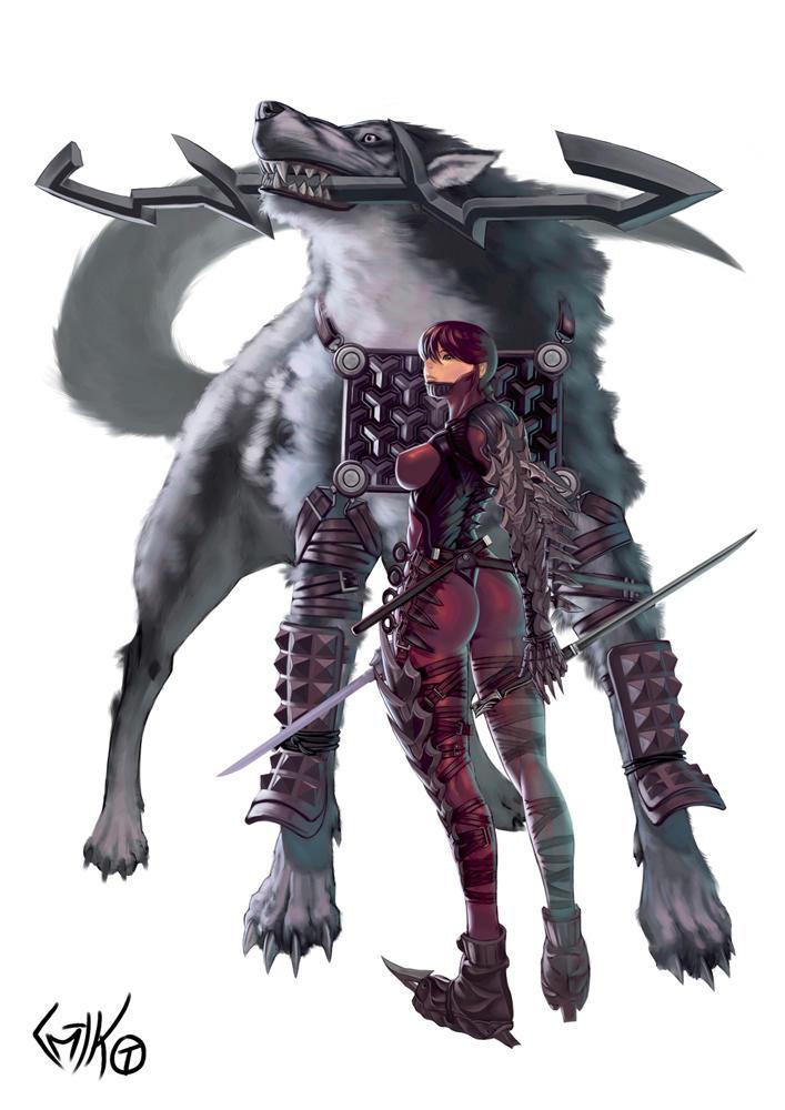 Ninja and Canis lupus by ButcherKnight