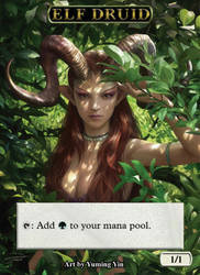 Magic the Gathering - Elf Druid Token by ReiLeoryc