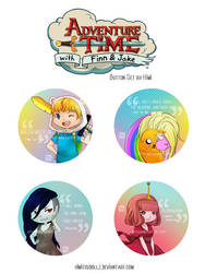 Adventure Time - Button Set by phobialia