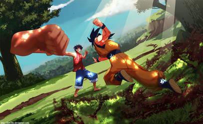Goku Vs Luffy by hoCbo