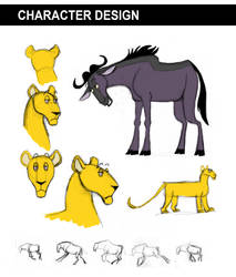 Wildebeest and Lioness Designs by kbakonyi