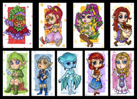 LoZ: Oot and MM - Zelda girls by KeyshaKitty