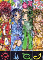 Sisters of the Four Elements by KeyshaKitty