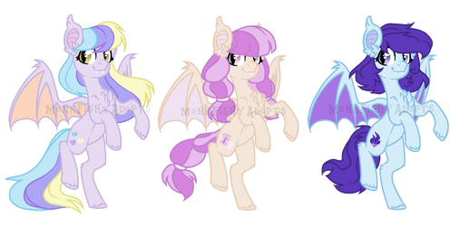 Bat Pony Adoptables - SOLD - 3/3 by MonkFishyAdopts