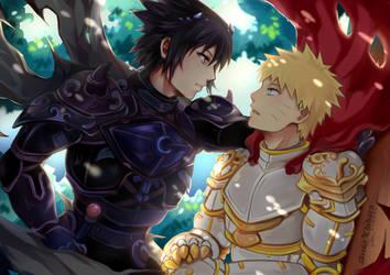 (Yaoi) SasuNaru Knights Postcard by arisa-chibara