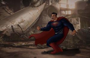 Superman-Inks-colors by Salvador-Raga