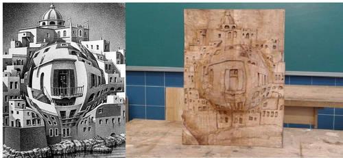 M.C Escher- Balcony 1945 wood carving by anadarksoul