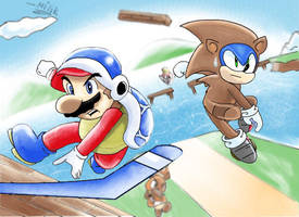 Super Mario and Sonic 3D Land! by kjshadows131