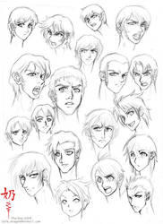Study: Faces and hair male by The-Nai