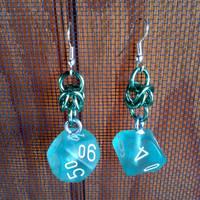 Mint Green d10 Earrings by Utopia-Armoury