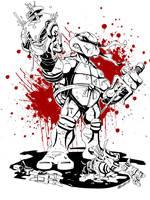 Ninja Turtle Raphael BW by MarceloMatere