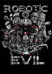 Robotic Evil - T-shirt Illustration by MarceloMatere
