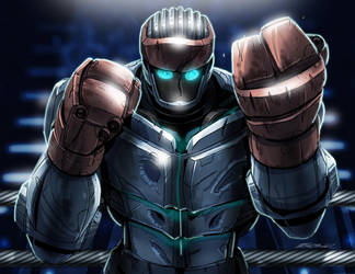 Real Steel Atom Cartoon by MarceloMatere
