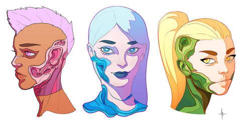 Cyborg Faces by AdrianDadich