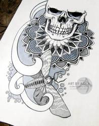 Skull, dotwork, ornamental. Tattoo sketch. by AsikaArt