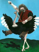 Mick Foley on an Ostrich by venkman3000