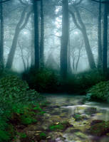 Forest and lake premade BG by StarsColdNight