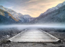 Mountains and Path premade BG II by StarsColdNight