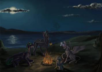 A campfire at Night by KirillK