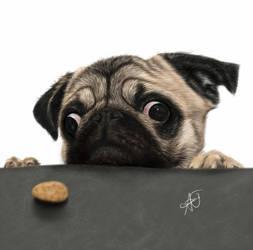 Little Pug Vs. The Cookie by laziee2ann